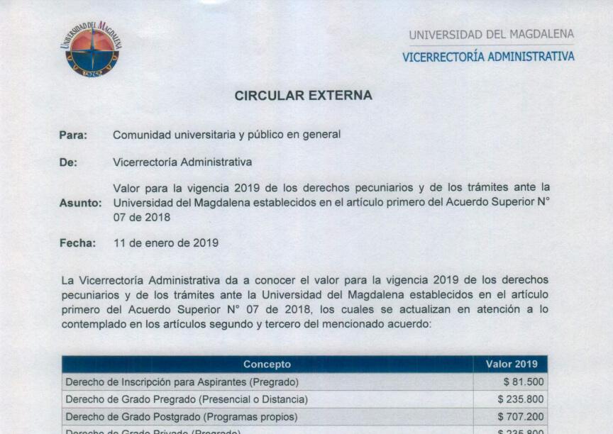 Calendario Examenes Derecho Us.Valores De Derechos Pecuniarios Y Tramites Universidad Del Magdalena